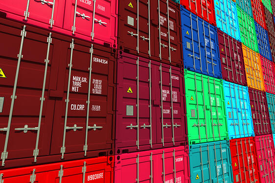 Stacked Colorful Cargo Containers.  Industrial and Transportation Background.-1